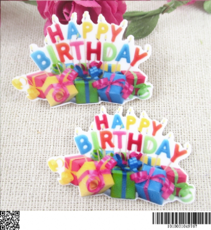 5 x 45MM HAPPY BIRTHDAY LASER CUT FLAT BACK RESIN HEADBANDS BOWS BIRTHDAY CARD MAKING